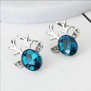 Teal Reindeer Stud Earrings